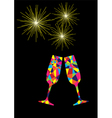 glasses mozaic fireworks vector image vector image