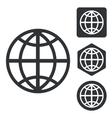 Globe icon set monochrome vector image vector image