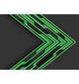 green circuit line arrow direction on grey vector image vector image