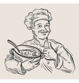hand drawn happy chef with pan in hand vector image vector image
