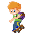 Happy Cartoon Skateboard Boy vector image