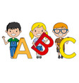 happy children with the alphabet vector image vector image