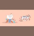 happy easter card funny chicken bird egg vector image vector image