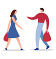 happy family couple with shopping man with a vector image
