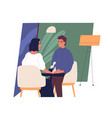 happy smiling boy and girl sitting at cafe table vector image vector image