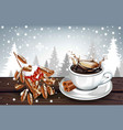 hot coffee splash in a white cup on winter vector image vector image