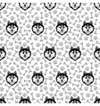 husky black head dog seamless pattern vector image vector image