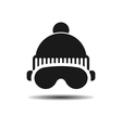 icon ski cap and glasses with shadow vector image