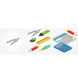 Isometric pair of stationery vector image vector image