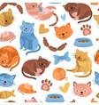 kitten pattern cartoon cat cute animal seamless vector image