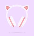 kitty ear headphones flat design i on vector image