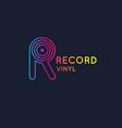 logo vinyl record letter r vector image