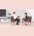 man woman sitting on armchair relaxing at home vector image vector image