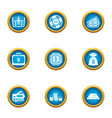 money circulation icons set flat style vector image vector image