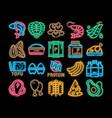 protein food nutrition neon glow icon vector image vector image