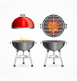 realistic detailed 3d bbq or barbecue grill set vector image vector image