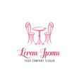 romantic chair table logo cafe logo vector image vector image