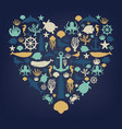 sea icons and symbols set sea animals nautical vector image vector image