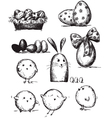 selection easter drawings vector image vector image