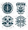 set four nautical vintage emblems vector image vector image