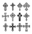 set isolated christian and catholicism crosses vector image vector image