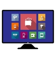 Set of flat home appliances icons on a monitor vector image vector image