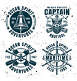 set of four nautical vintage emblems vector image vector image