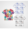 Set of three t-shirts with abstract funny monsters vector image vector image