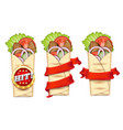 shawarma promo banner template set vector image