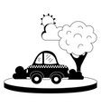 silhouette taxi car service in the city with tree vector image vector image