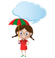 speech bubble template with girl holding umbrella vector image