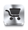 Square metal button - shopping cart icon vector image