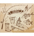 The drawn set fishing Rod salmon perch bucket fish vector image vector image