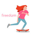 the girl skater beauty girl with red hair surf on vector image vector image