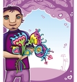 young boy with flowers vector image