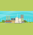 nuclear power plant in flat style vector image