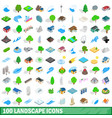100 landscape icons set isometric 3d style vector image vector image