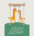 baby shower card with cute jiraffes couple vector image vector image