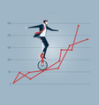 businessman balancing on the charts vector image vector image