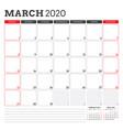 calendar planner for march 2020 week starts on vector image