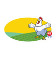 chicken cartoon presenting with blank space vector image