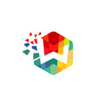 creative colorful hexagon w letter logo vector image