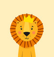 cute lion with crown poster for baroom vector image vector image