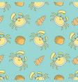cute seamless patterns with crab and shells vector image