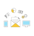 Email makreting outline icons flat vector image