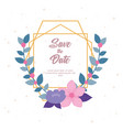flowers wedding save date invitation card vector image