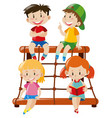 four kids sitting on climbing station vector image vector image