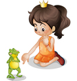 Frog and princess vector image vector image