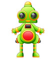 funny cartoon green robot character isolated on wh vector image