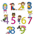 funny children with numbers from 0 to 9 vector image vector image